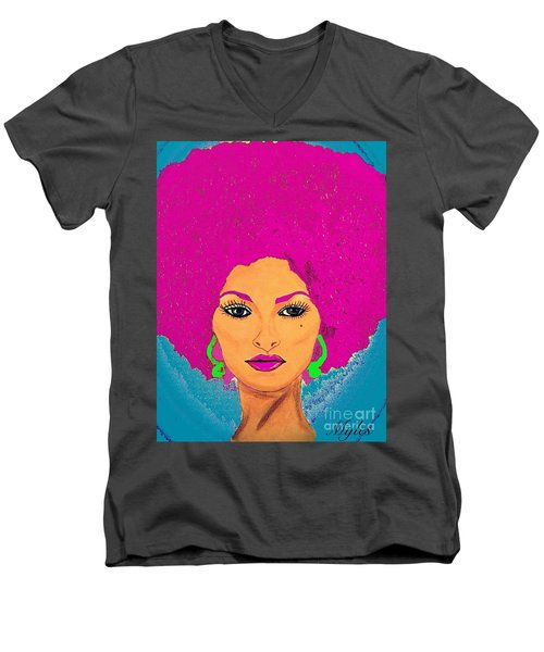 Pam Grier Bold Diva C1979 Pop Art Men's V-Neck T-Shirt