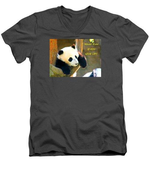 Panda Baby Bear Never Ever Ever Give Up Men's V-Neck T-Shirt