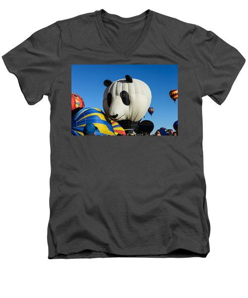 Panda Balloon Men's V-Neck T-Shirt