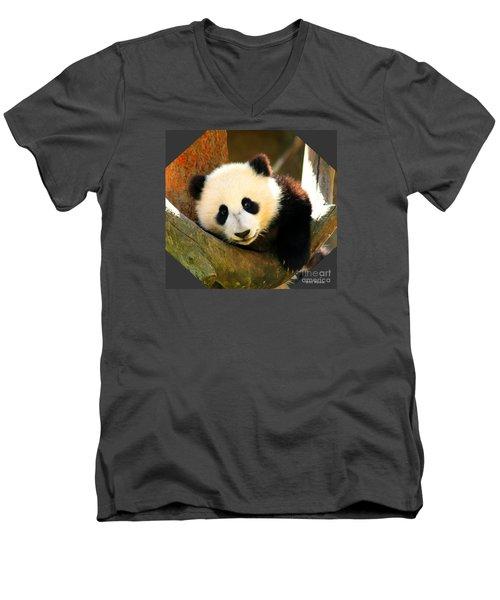 Panda Bear Baby Love Men's V-Neck T-Shirt