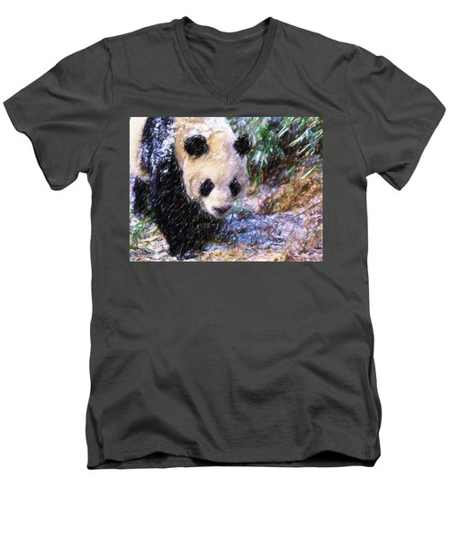 Panda Bear Walking In Forest Men's V-Neck T-Shirt by Lanjee Chee