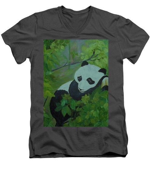 Men's V-Neck T-Shirt featuring the painting Panda by Christy Saunders Church
