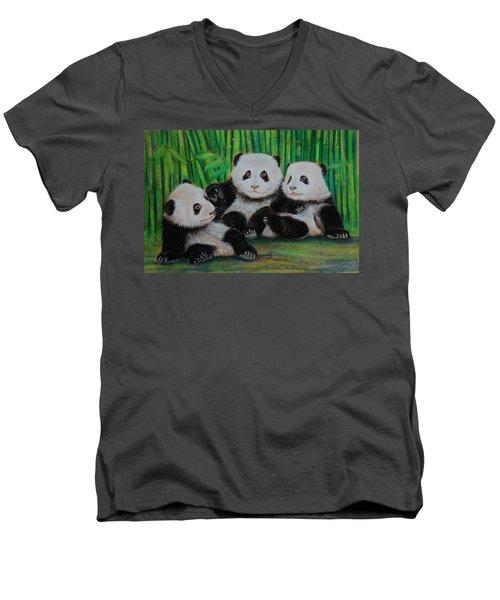 Panda Cubs Men's V-Neck T-Shirt by Jean Cormier