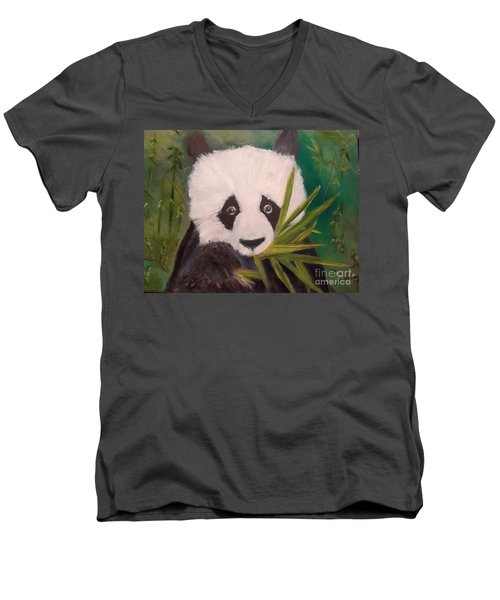 Men's V-Neck T-Shirt featuring the painting Panda by Jenny Lee