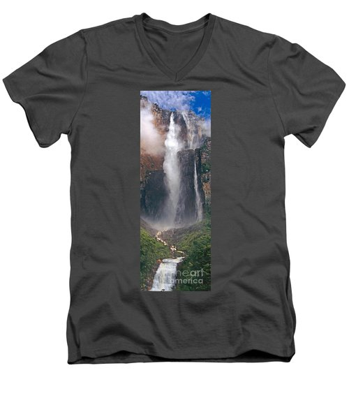 Panorama Angel Falls In Canaima National Park Venezuela Men's V-Neck T-Shirt by Dave Welling