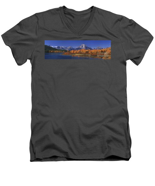 Panorama Fall Morning Oxbow Bend Grand Tetons National Park Wyoming Men's V-Neck T-Shirt