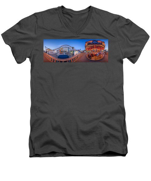 Panorama Giant Dipper Goes 360 Round And Round Men's V-Neck T-Shirt