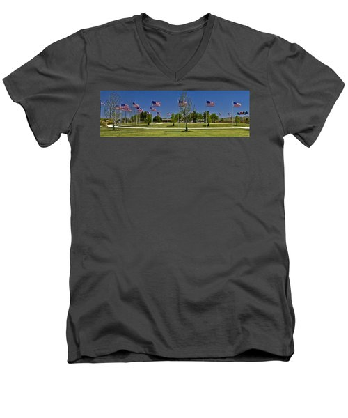 Men's V-Neck T-Shirt featuring the photograph Panorama Of Flags - Veterans Memorial Park by Allen Sheffield