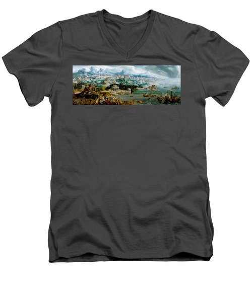 Panorama With The Abduction Of Helen Amidst The Wonders Of The Ancient World Men's V-Neck T-Shirt