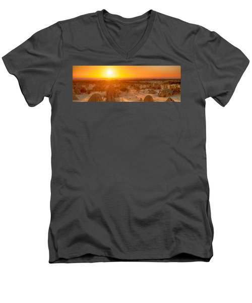 Panoramic Photo Of Sunset At The Pinnacles Men's V-Neck T-Shirt