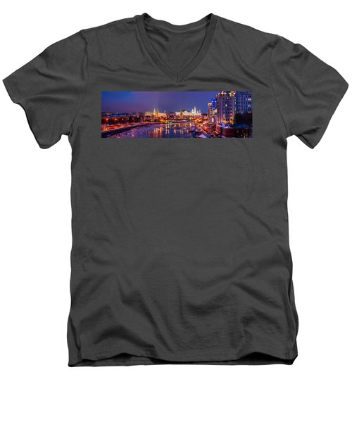 Panoramic View Of Moscow River And Moscow Kremlin  - Featured 3 Men's V-Neck T-Shirt