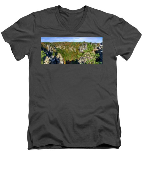 Panoramic View Of The Elbe Sandstone Mountains Men's V-Neck T-Shirt