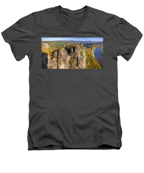 Panoramic Views Of Neurathen Castle Men's V-Neck T-Shirt