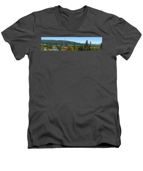 Panoramic Yellowstone Landscape Men's V-Neck T-Shirt
