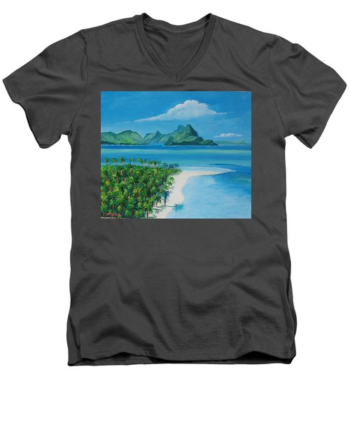 Papeete Bay In Tahiti Men's V-Neck T-Shirt