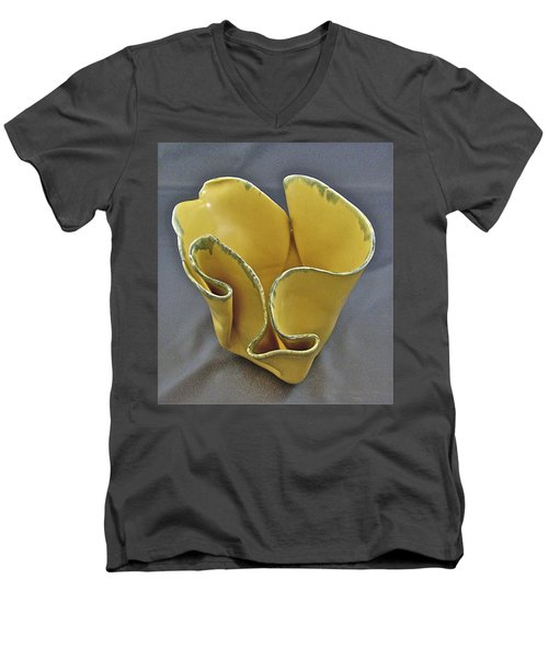 Men's V-Neck T-Shirt featuring the sculpture Paper-thin Bowl  09-004 by Mario Perron