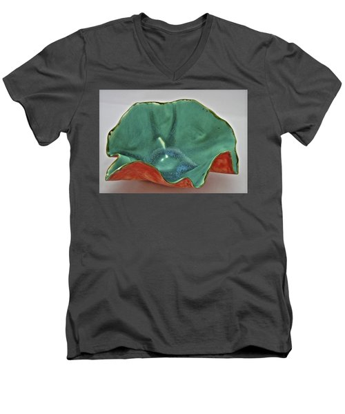 Men's V-Neck T-Shirt featuring the sculpture Paper-thin Bowl  09-007 by Mario Perron