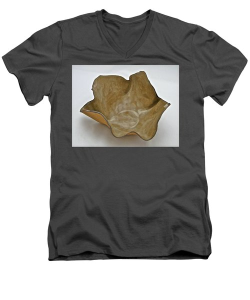 Men's V-Neck T-Shirt featuring the sculpture Paper-thin Bowl  09-010 by Mario Perron