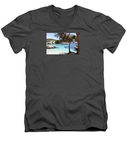Paradise In Minorca Is Called Cala Mitjana Beach Where Sand Is Almost White And Sea Is A Deep Blue  Men's V-Neck T-Shirt