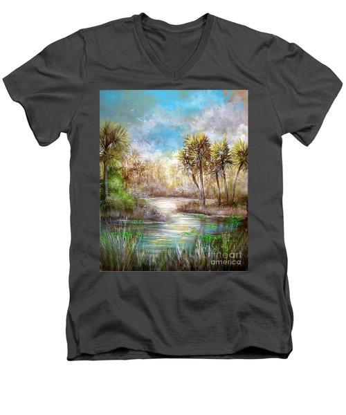 Paradise Men's V-Neck T-Shirt by Patrice Torrillo
