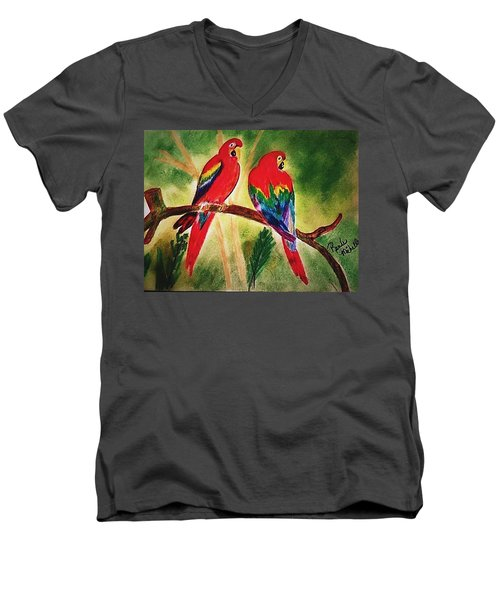 Parakeets In Paradise Men's V-Neck T-Shirt