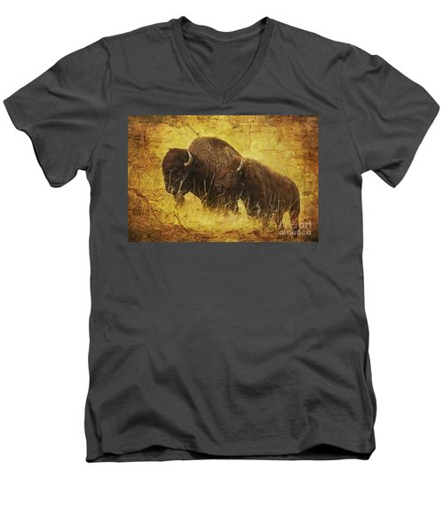 Men's V-Neck T-Shirt featuring the digital art Parent And Child - American Bison by Lianne Schneider