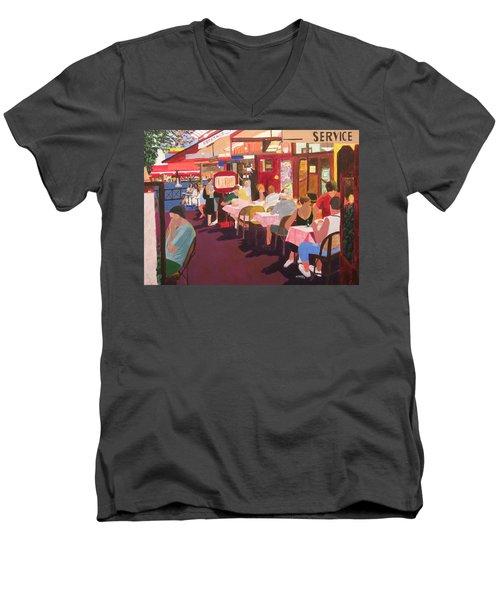 Paris Cafe At Dusk Men's V-Neck T-Shirt
