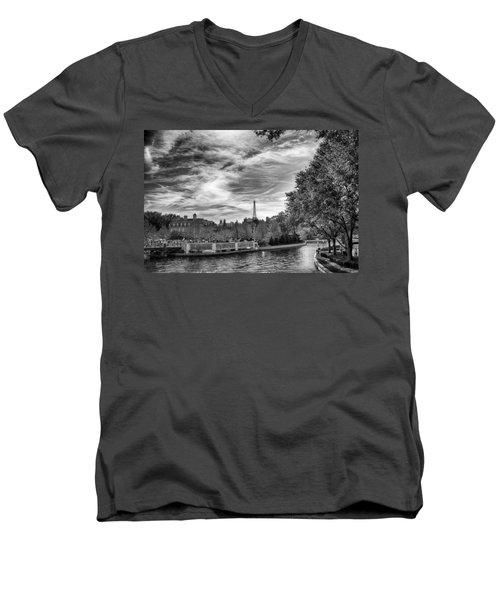 Men's V-Neck T-Shirt featuring the photograph Paris by Howard Salmon