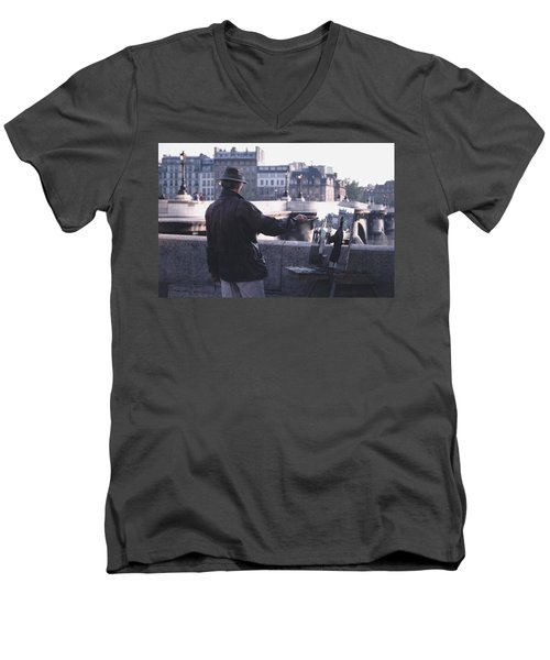 Men's V-Neck T-Shirt featuring the photograph Paris Painter Inspiration Magritte by Tom Wurl