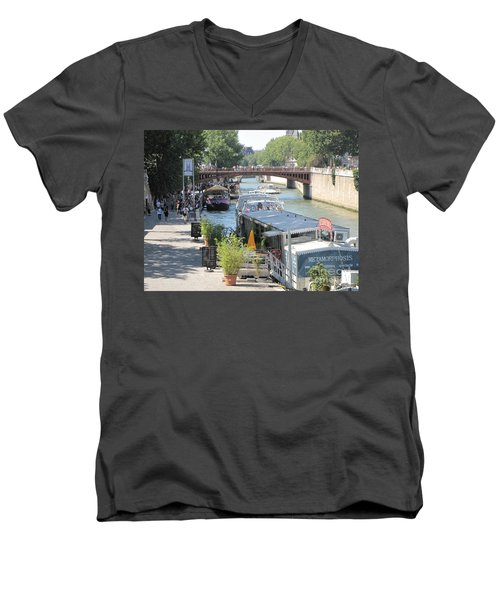 Paris - Seine Scene Men's V-Neck T-Shirt by HEVi FineArt