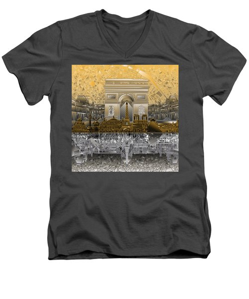 Paris Skyline Landmarks 5 Men's V-Neck T-Shirt