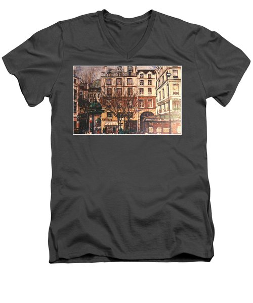 Men's V-Neck T-Shirt featuring the painting Paris by Walter Casaravilla