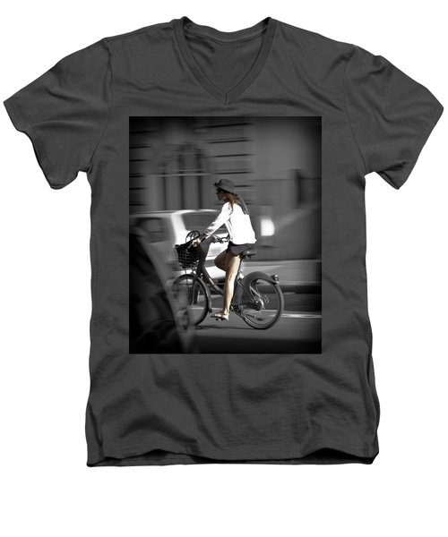 Parisian Girl Cyclist Men's V-Neck T-Shirt by Maj Seda
