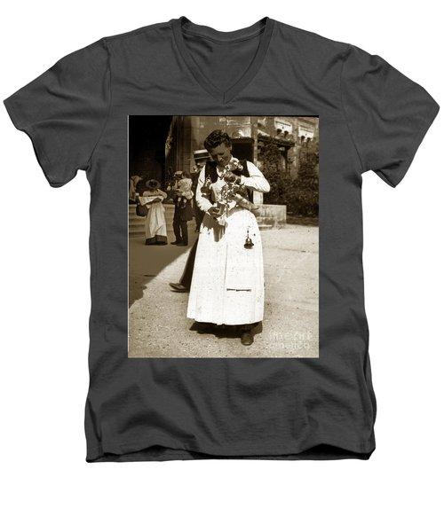 Men's V-Neck T-Shirt featuring the photograph Parisian Woman Lady Paris France 1900 Historical Photo by California Views Mr Pat Hathaway Archives