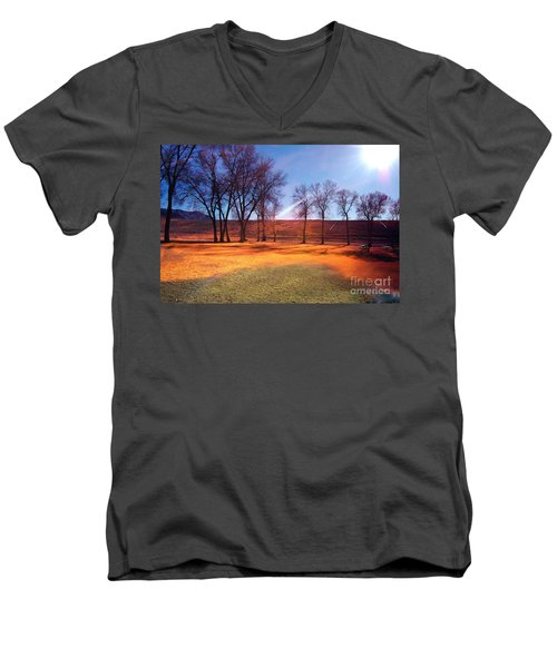 Park In Mcgill Near Ely Nv In The Evening Hours Men's V-Neck T-Shirt