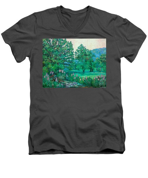 Men's V-Neck T-Shirt featuring the painting Park Road In Radford by Kendall Kessler