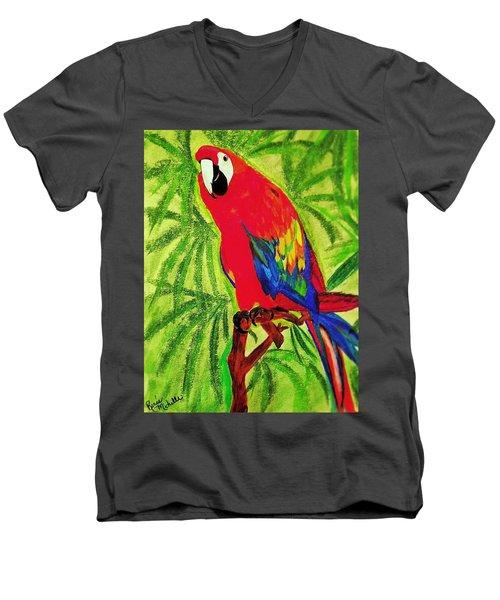 Parrot In Paradise Men's V-Neck T-Shirt