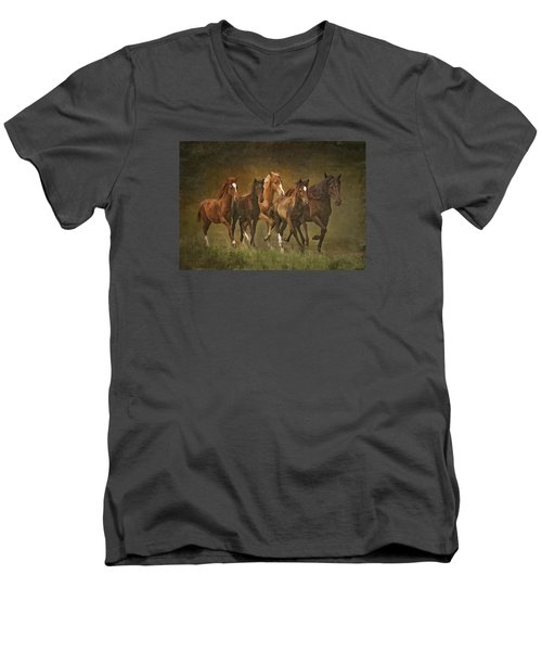 Men's V-Neck T-Shirt featuring the photograph Paso Peruvians by Priscilla Burgers