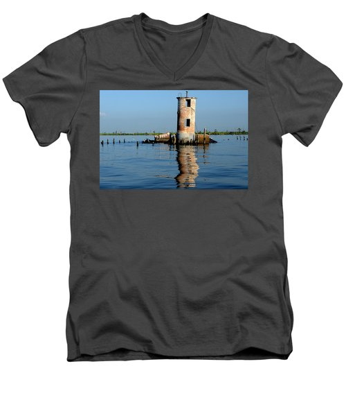 Men's V-Neck T-Shirt featuring the photograph Pass Manchac Lighthouse by Charlotte Schafer