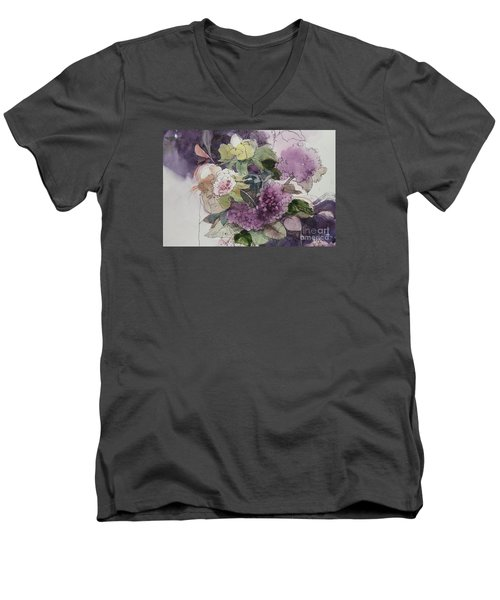 Men's V-Neck T-Shirt featuring the painting Passionate About Purple by Elizabeth Carr
