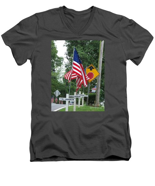 Men's V-Neck T-Shirt featuring the photograph Past Heros by Marilyn Zalatan
