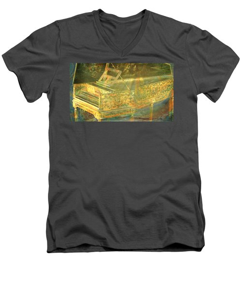 Men's V-Neck T-Shirt featuring the mixed media Past To Present by Ally  White