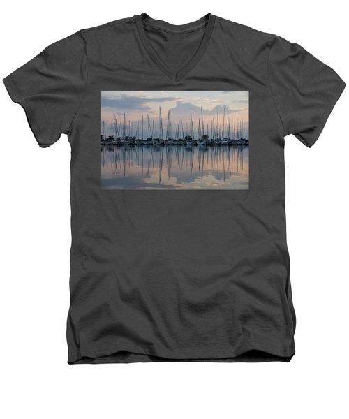 Pastel Sailboats Reflections At Dusk Men's V-Neck T-Shirt
