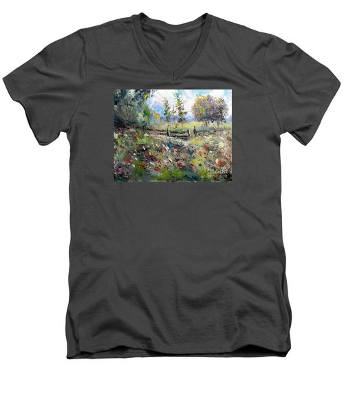 Pasture With Fence Men's V-Neck T-Shirt by Lee Piper