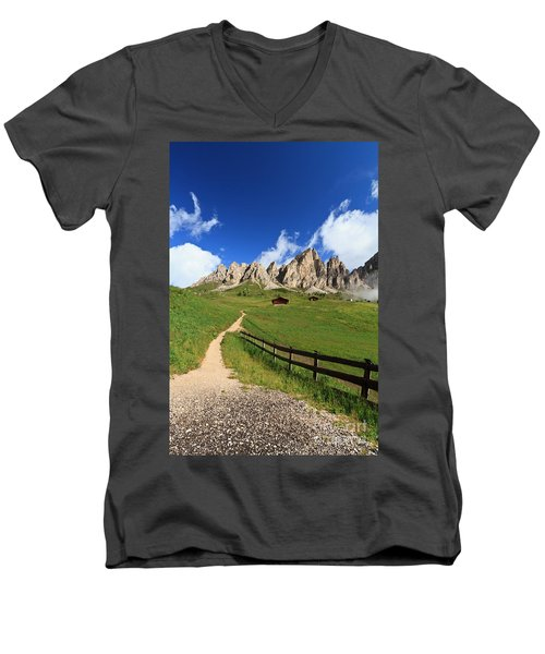 Men's V-Neck T-Shirt featuring the photograph path in Gardena pass by Antonio Scarpi