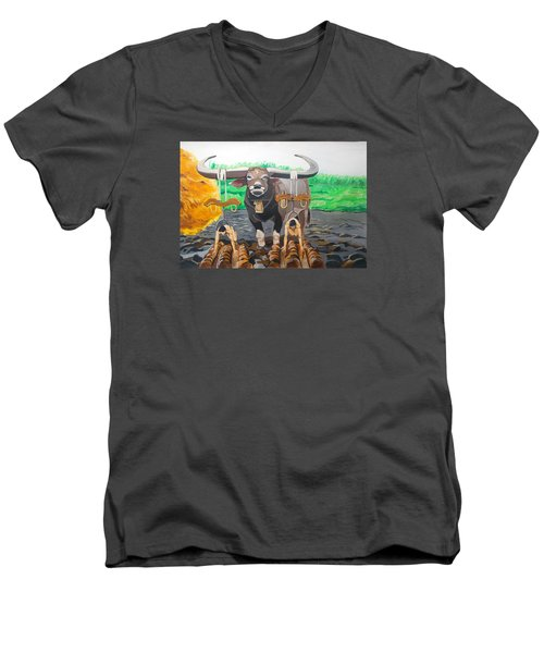 Men's V-Neck T-Shirt featuring the painting Paths In The Soil  by Lazaro Hurtado