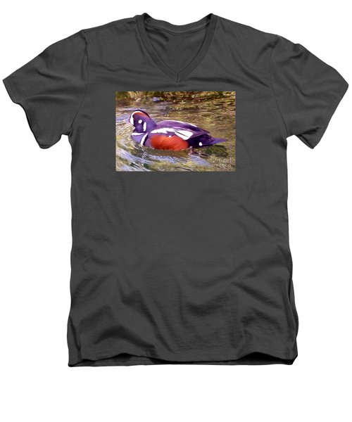 Men's V-Neck T-Shirt featuring the photograph Patriot Duck by Susan Garren