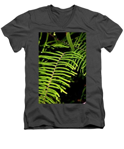 Men's V-Neck T-Shirt featuring the photograph Pauched Coral Fern by Miroslava Jurcik
