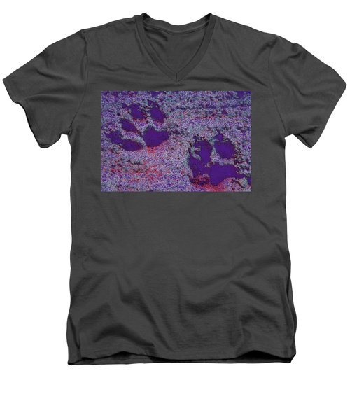 Paw Prints In Purple With Red Glow Men's V-Neck T-Shirt