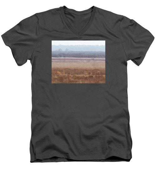 Men's V-Neck T-Shirt featuring the photograph Paynes Prairie White Birds by Paul Rebmann